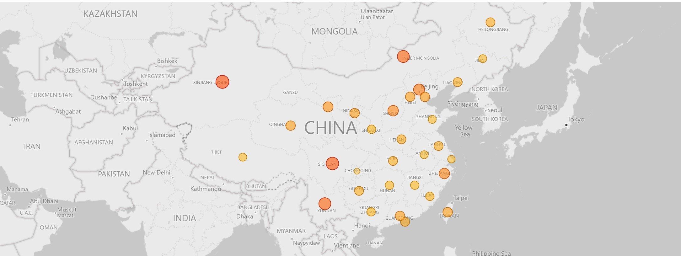 China: Bitcoin Mining Map. Source: Cambridge University.